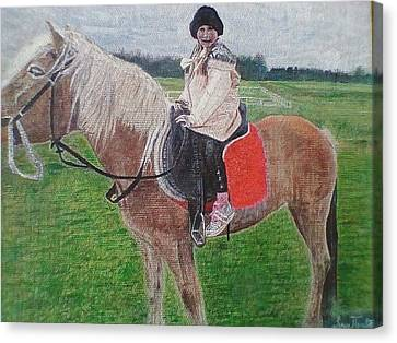 Little Girl On Horse Canvas Print by Zoran Tomich