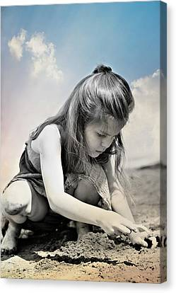 Little Girl On The Beach Canvas Print by Pamela Patch