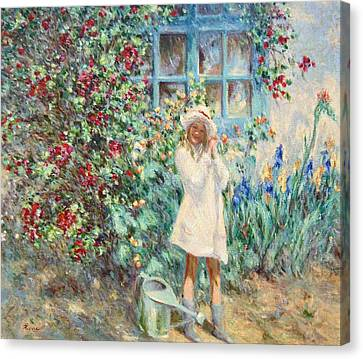 Little Girl With Roses  Canvas Print