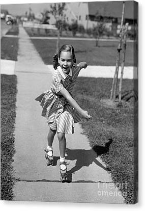 Rollerskate Canvas Print - Little Girl Roller-skating On Sidewalk by Debrocke/ClassicStock
