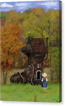 Little Girl Who Lived In A Shoe Canvas Print by Mary Timman