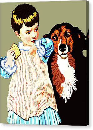 Little Girl With Hungry Mutt Canvas Print