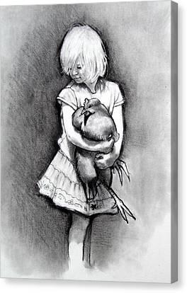 Little Girl With Pet Chicken Canvas Print by Joyce Geleynse