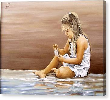 Little Girl With Sea Shell Canvas Print by Natalia Tejera