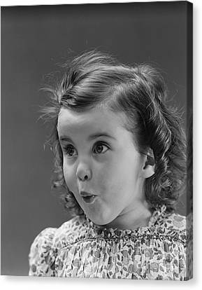 Little Girl With Surprised Expression Canvas Print by H. Armstrong Roberts/ClassicStock