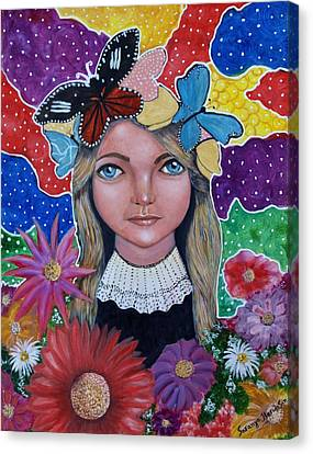 Canvas Print featuring the painting Little Girls Dream by Saranya Haridasan