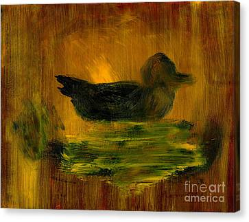 Little Green Mallard Sitting In The Water 4 Canvas Print by Richard W Linford