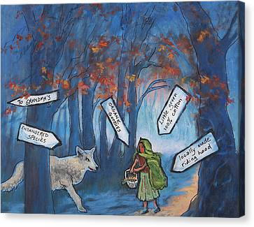 Little Green Riding Hood Canvas Print by Holly Stone