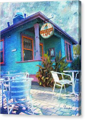 Little House Cafe  Canvas Print by Linda Weinstock