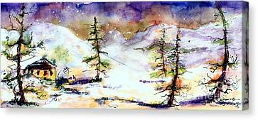 Little House In The Mountains Canvas Print by Ginette Callaway