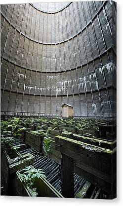 Canvas Print featuring the photograph Little House Inside Industrial Cooling Tower by Dirk Ercken