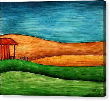 Little House On Hill Canvas Print by Brenda Bryant