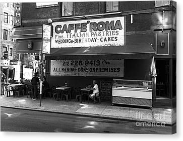 Little Italy Cafe Roma Mono Canvas Print by John Rizzuto