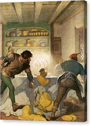 Little John Fights With The Cook In The Sheriff's House Canvas Print by Newell Convers Wyeth