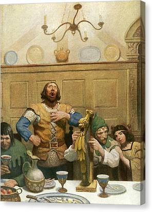 Little John Sings At The Banquet Canvas Print by Newell Convers Wyeth