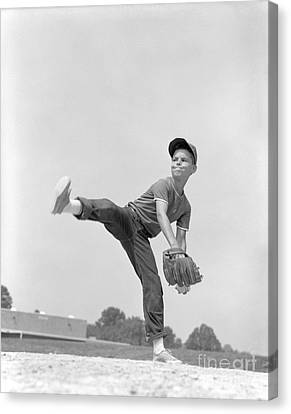 Little League Pitcher, C.1960s Canvas Print by H. Armstrong Roberts/ClassicStock