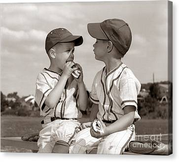 Little Leaguers Eating Hot Dogs, C.1960s Canvas Print by H. Armstrong Roberts/ClassicStock