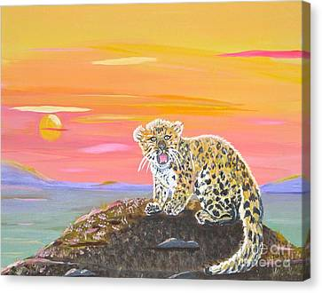 Canvas Print featuring the painting Little Leopard by Phyllis Kaltenbach