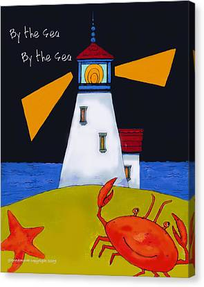 Little Lighthouse By The Sea Canvas Print by Glenna McRae