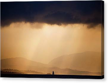 Corfu Canvas Print - Little Lonely Lost Boat Facing The Storm by Roeselien Raimond