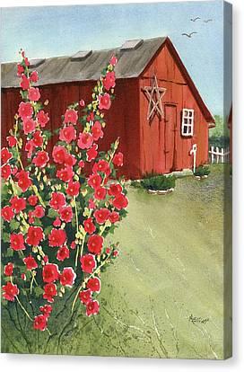 Hollyhock Canvas Print - Little Maders Farm by Marsha Elliott