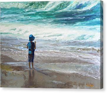 Little Man, Big Waves Canvas Print by Darla Nyren