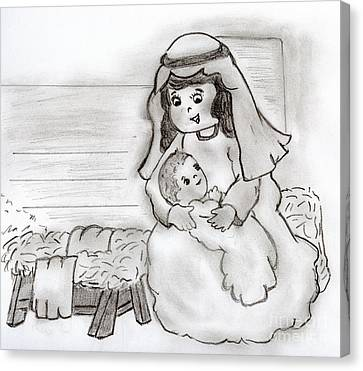 Little Mary And Baby Jesus Canvas Print by Sonya Chalmers