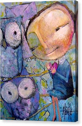 Canvas Print featuring the painting Little Miss Wise Heart by Eleatta Diver