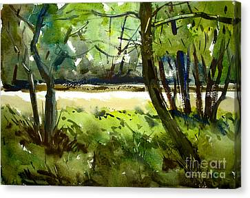 Little Mississinewa Running Wild Matted Glassed Framed Canvas Print by Charlie Spear