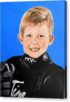 Youth Hockey Canvas Print - Little Mister G by Betty-Anne McDonald