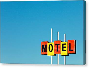 Vintage Sign Canvas Print - Little Motel Sign by Todd Klassy