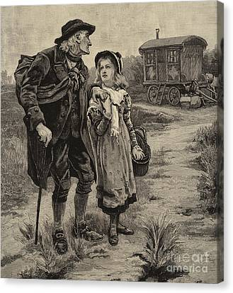 Old Grandfather Time Canvas Print - Little Nell And Her Grandfather  by Frederick Morgan