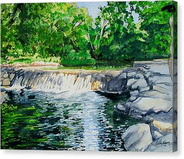 Little Niagra Falls On Travertine Creek Chickasaw National Recreation Area Sulphur Oklahoma Canvas Print by Wes Loper