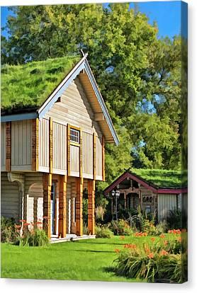 Log Cabin Canvas Print - Little Norwegian Village On Washington Island In Door County by Christopher Arndt