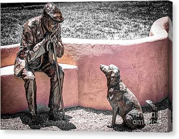 Conquistadores Canvas Print - Little Old Man And Dog Statue by Julian Starks