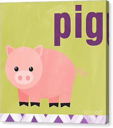 Farm Animal Canvas Print - Little Pig by Linda Woods