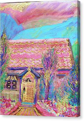 Little Pink House Canvas Print by Anne-Elizabeth Whiteway