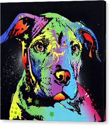 Little Pittie Warrior Canvas Print by Dean Russo