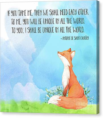 Little Prince Fox Quote, Text Art Canvas Print by Tina Lavoie