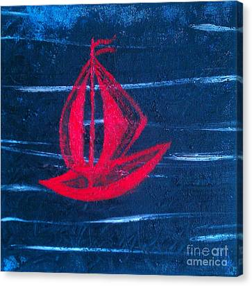 Canvas Print featuring the painting Little Red Boat  by Jacqueline McReynolds