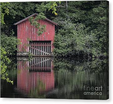 Little Red Boathouse Canvas Print
