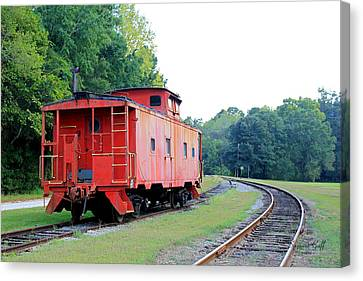 Little Red Caboose Enhanced Canvas Print by Suzanne Gaff
