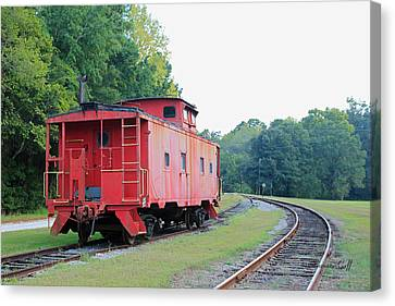 Little Red Caboose Canvas Print by Suzanne Gaff