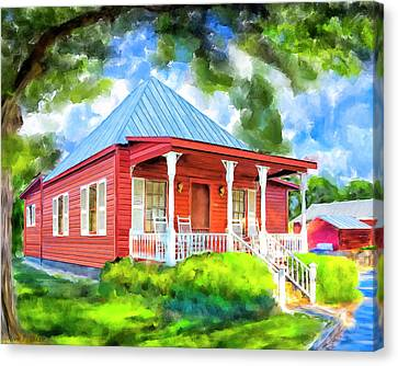 Canvas Print featuring the mixed media Little Red Cottage by Mark Tisdale