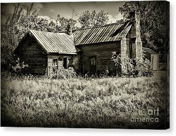 Little Red Farmhouse In Black And White Canvas Print by Paul Ward