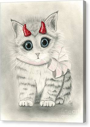 Canvas Print featuring the drawing Little Red Horns - Cute Devil Kitten by Carrie Hawks