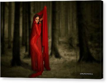 Little Red In Woods Canvas Print by Thomas Churchwell