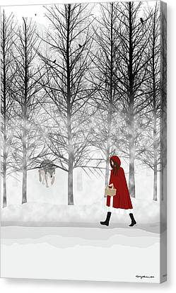 Canvas Print featuring the digital art Little Red by Nancy Levan