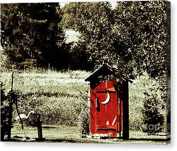 Little Red Outhouse Canvas Print by Ms Judi