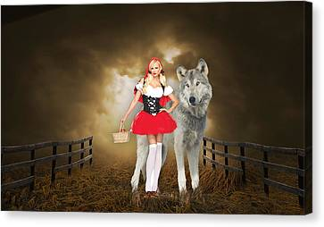 Canvas Print featuring the mixed media Little Red Riding Hood And The Big Bad Wolf by Marvin Blaine